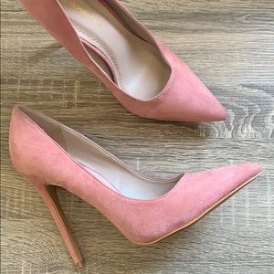 Light Pink Suede Pointy Toe Heels